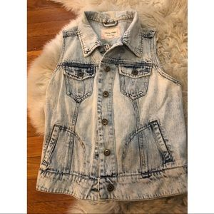 Jean vest stone light wash small S cropped